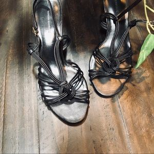 Banana Republic Black Leather Strappy Sandals 9